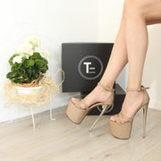 Dark Gold Brown Cross Strap 19-20 cm High Heels - Tajna Club
