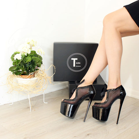 Black Transparent Ankle Booties High Heels - Tajna Club