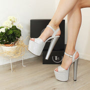 Shimmer Silver Heel Single Strap Platforms - Tajna Club