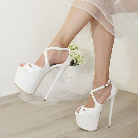 Cross Peep Toe White 19-20 cm Wedding Platforms - Tajna Club