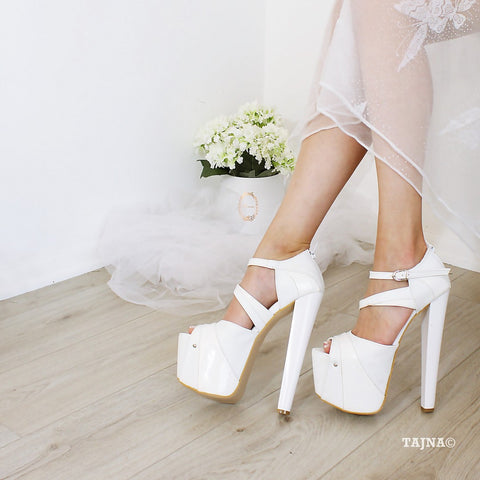 Double Strap White 19 Wedding Platforms - Tajna Club