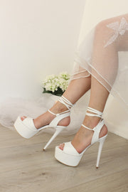White Lace Up High Heel Sandals - Tajna Club