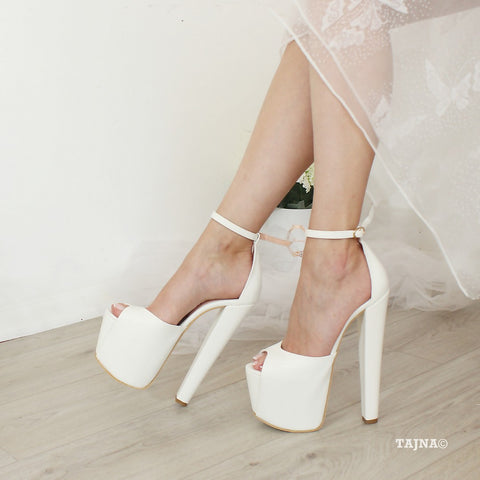 Bridal White Peep Toe Chunky Heel Platform Shoes - Tajna Club