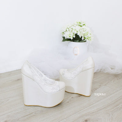 Ivory White Lace Platform Heel Wedding Shoes - Tajna Club
