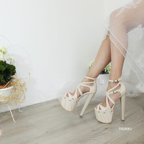 Nude Cream 19-20 cm Cross Strap Platforms - Tajna Club
