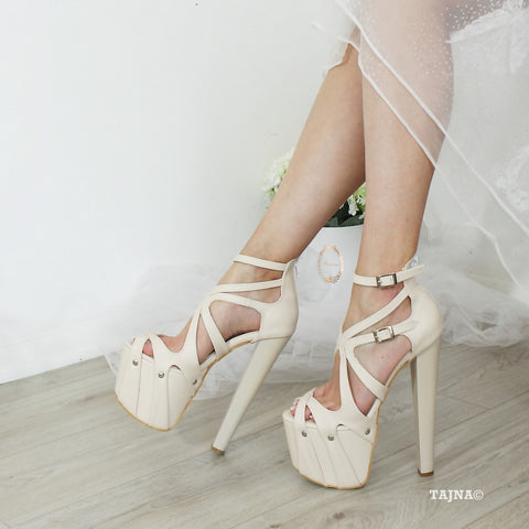 Nude Cream Chunky Heel Cross Strap Platforms - Tajna Club