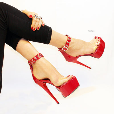 Transparent Strap Red Patent Leather Platform - Tajna Club