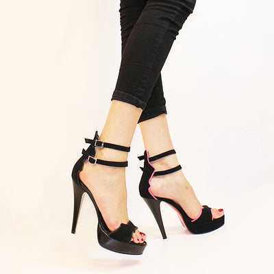 Ankle Strap Black Pink Bat High Heel Platform Shoes - Tajna Club
