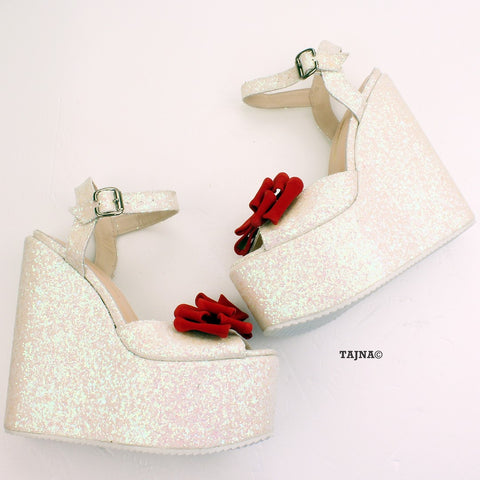 Shiny White Red Ribbon Peep Toe Wedge Shoes - Tajna Club