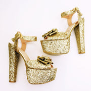 Gold Glitter Ribbon Bridal Platform Shoes - Tajna Club