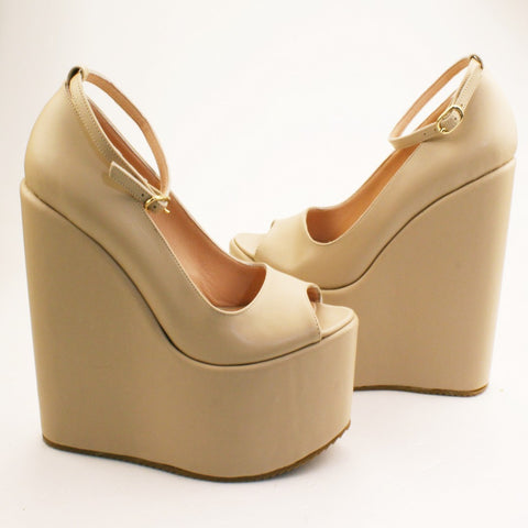Peep Toe Cream Ankle Strap Platform Wedge Shoes - Tajna Club