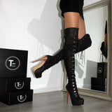 Brown Military Style High Heel Platform Knee High Boots - Tajna Club
