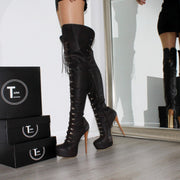 Brown Military Style Knee High Boots - Tajna Club