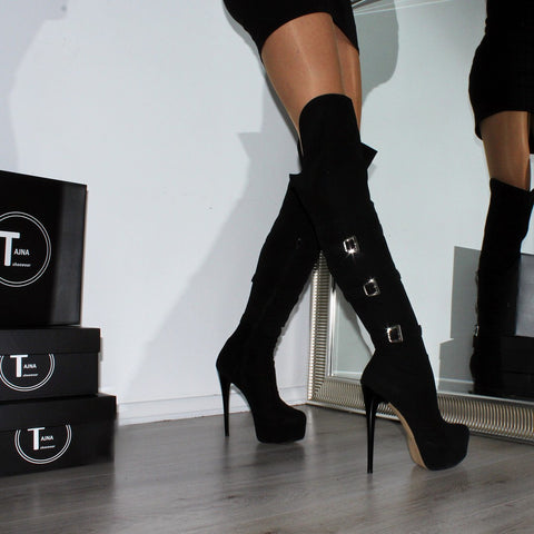 Black Suede Belted  Knee High Boots - Tajna Club