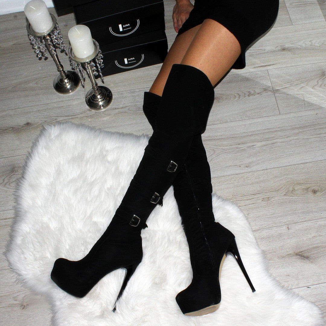 a69803b7bc0 ... Black Suede Belted High Heel Platform Knee High Boots - Tajna Club ...