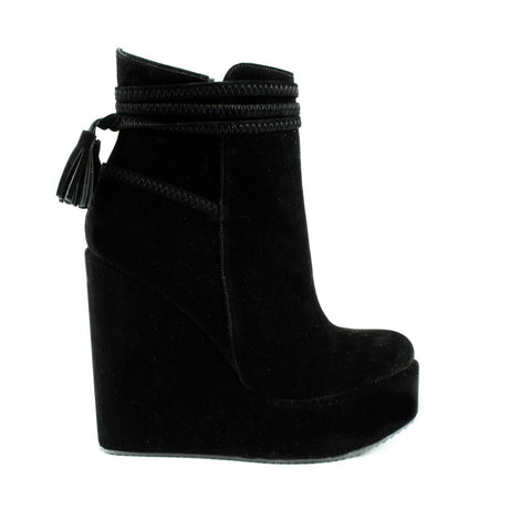 Black Suede Fringe Wedge Booties - Tajna Club