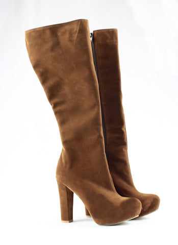 Tobacco Brown Platform Mid Calf Boots - Tajna Club