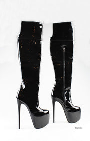 Black Patent Platform Knee High Boots - Tajna Club