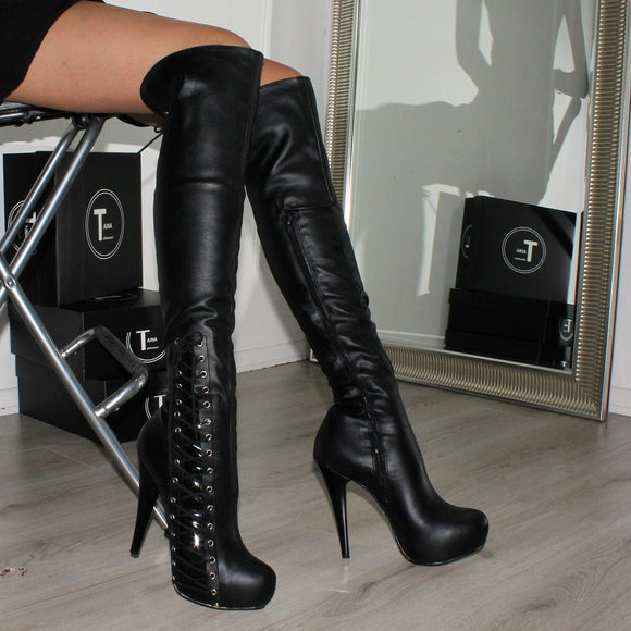 Black Corset High Heel Platform Knee High Boots - Tajna Club