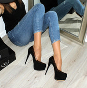 Black Suede Brown Detail Classic Platform Pumps - Tajna Club