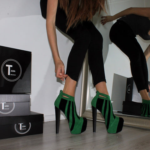 Green Black Stripe High Heel Platform Ankle Boots - Tajna Club