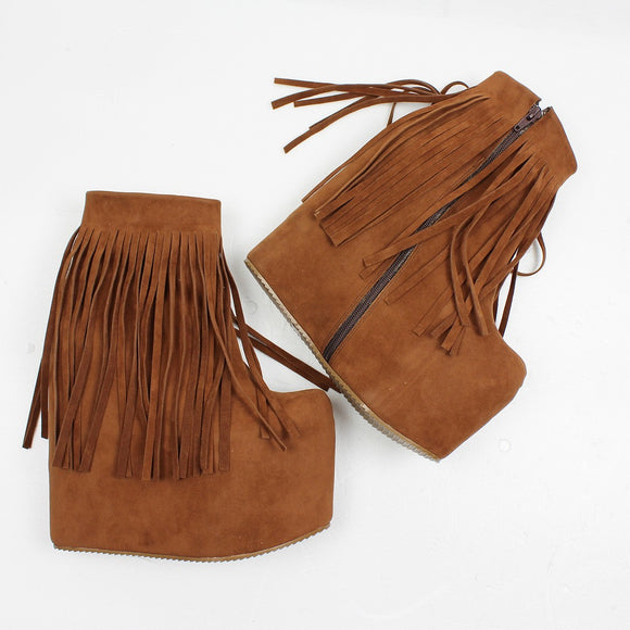 Brown Fringe High Heel Wedge Booties - Tajna Club
