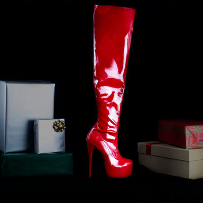 Red Patent Over Knee Boots - Tajna Club