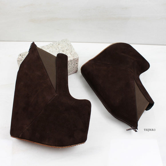 Chocolate Brown High Heel Wedge Booties - Tajna Club