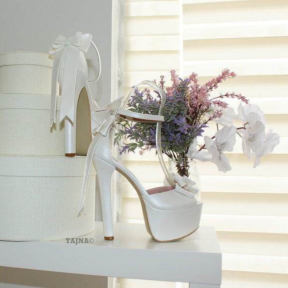 Ivory White Ribbon Tail Platform Bridal Shoes - Tajna Club