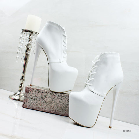 Lace Up White High Platform Booties - Tajna Club