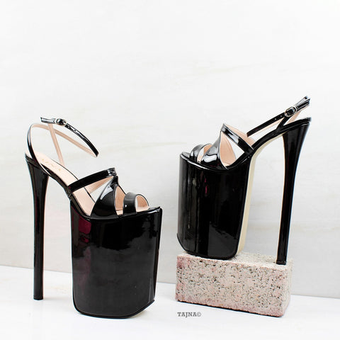 30 cm Super High Heel Platforms Black Patent - Tajna Club