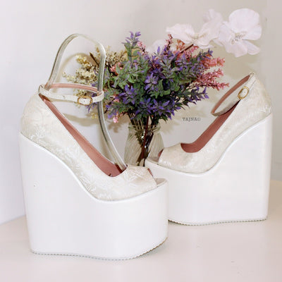 White Lace 19 cm High Heel Platform Bridal Shoes - Tajna Club