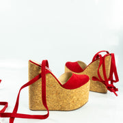 Red Suede Cork Wedge Lace Up Sandals - Tajna Club