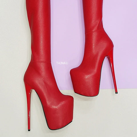 Red Thigh High Thin Heel Boots - Tajna Club