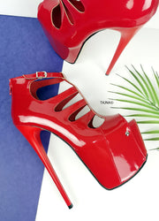 Red Patent Cage Platform Ankle Heels - Tajna Club