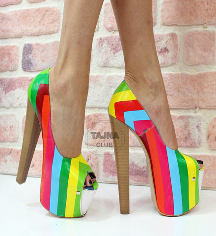 Rainbow Pumps Peep Toe High Heel Platform Shoes - Tajna Club