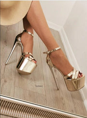 Gold Patent Shine Ankle Strap Heels - Tajna Club