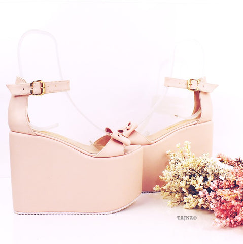 Bridal Collection Pink Powder Wedge Platform Sandals - Tajna Club
