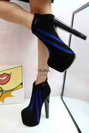 Black Blue Stripe Platform Booties - Tajna Club