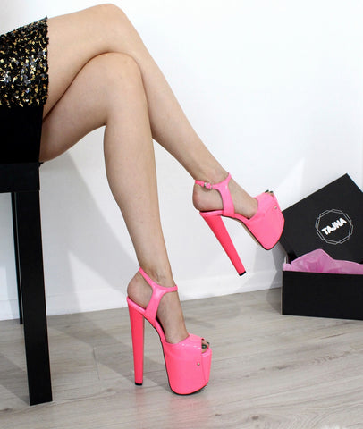 Pink Neon 19 cm Mega High Heel Shoes - Tajna Club