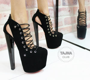 Black Lace Up 20 Cm High Heel Platforms Tajna Club