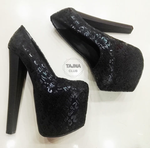 Black Suede Gilt Printed 20 cm High Heel Platform Shoes - Tajna Club