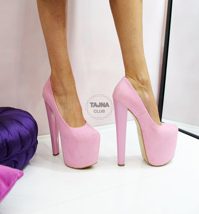 Light Pink Suede 20 cm High Heel Platform Shoes - Tajna Club