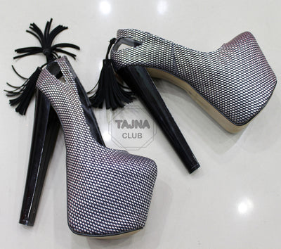 Fringe Platform 20 cm High Heel Pump Shoes - Tajna Club