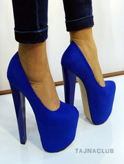 Saxe Blue 20 cm High Heel Shoes - Tajna Club