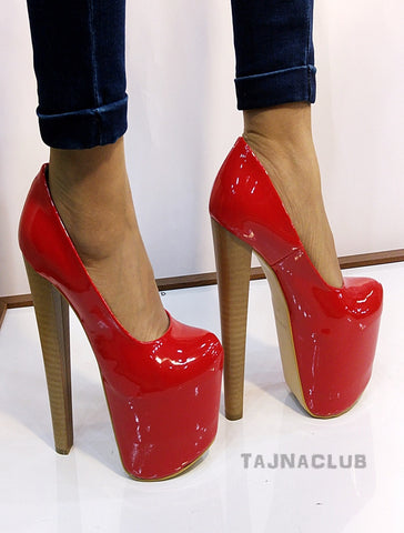 Shiny Red Pattent Leather 20 cm High Heel Shoes - Tajna Club