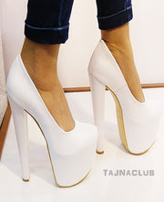 White Faux White Leather 20 cm High Heel Shoes - Tajna Club