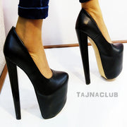 Black Faux Leather 19 cm High Heel Shoes - Tajna Club