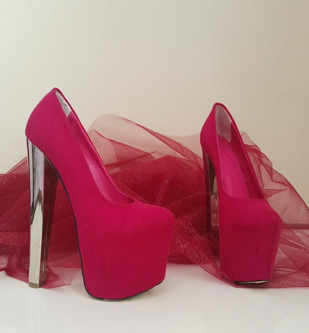 Hot Pink Platform -Silver High Heels - Tajna Club