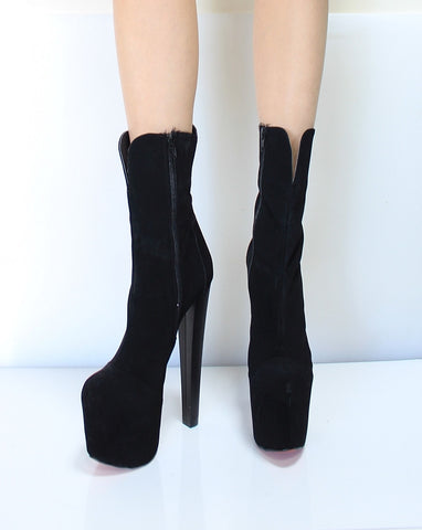 Black Mega Platform High Heel Booties - Tajna Club